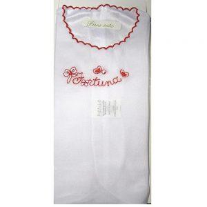 Camiciola Portafortuna in seta Bianca con ricamo Rosso Petit - P131