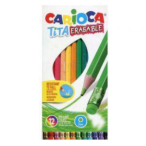 Matite colorate con gommino 12 Pz Carioca - 42897
