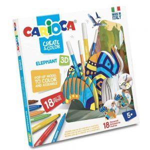 Pennarelli Crea e Colora Elefante 3D Carioca - 42902