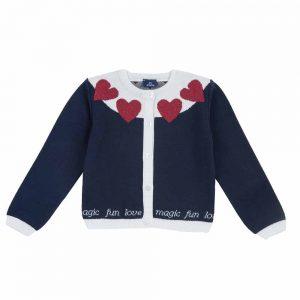 Cardigan Bambina Blu con Cuori Chicco - 09721