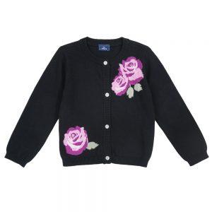 Cardigan Bambina Nero con Rose Chicco - 09467