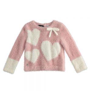Maglione Bambina Rosa Peluche con Cuori Sarabanda - 0324900