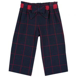 Pantalone Bambina a Quadri con Fiocco Chicco - 08504